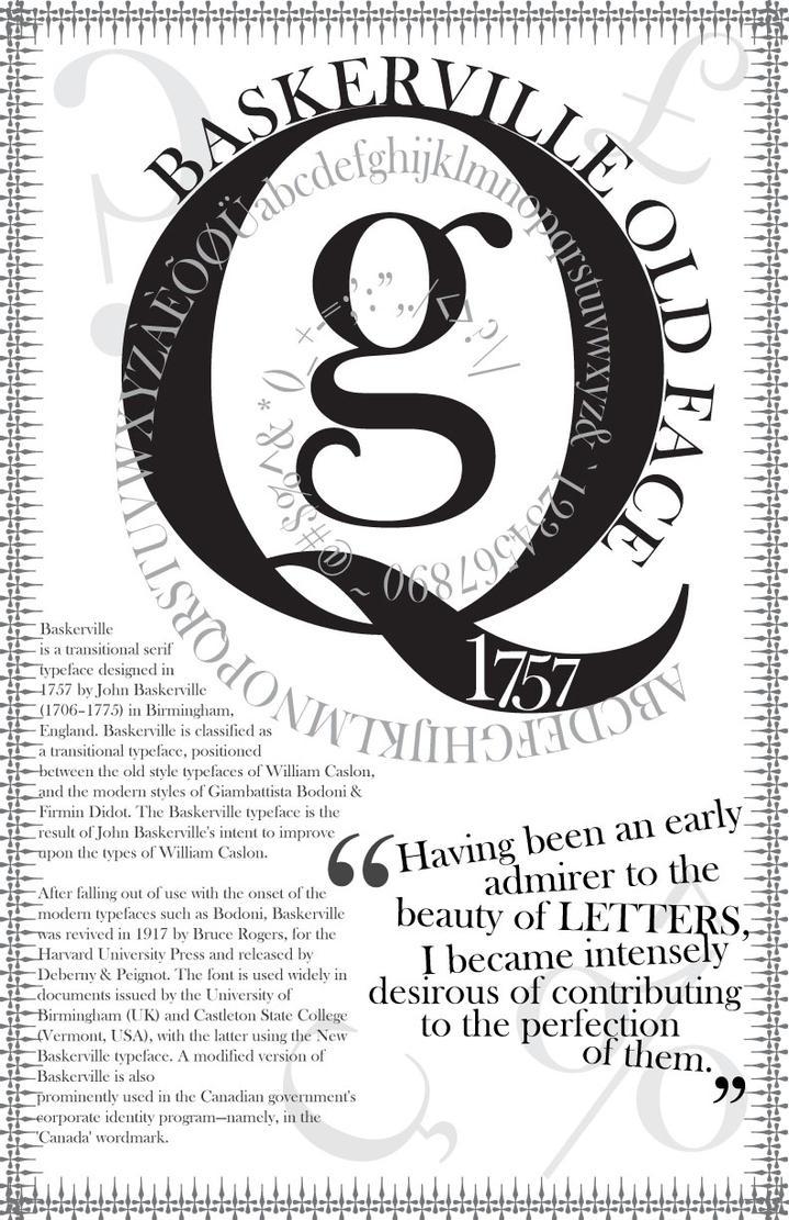 Baskerville old face typeface poster by rezhuane12 on Baskerville