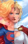 Super Girl and Power Girl Split Portrait
