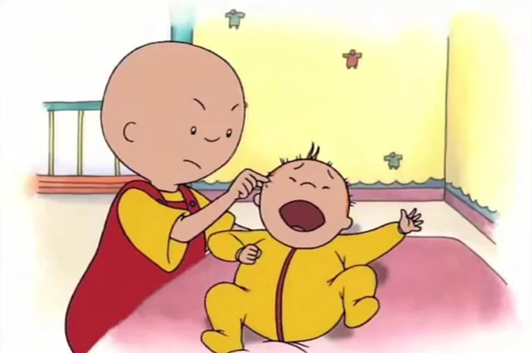 Cartoon Bald Kid With Little Sister