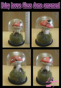 Fairy house glass dome ornament