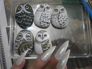 Stone owls! little paint OOAKs
