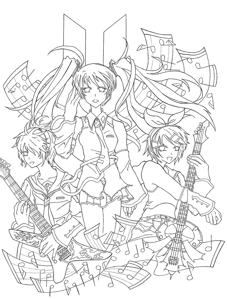 The Gallery For Gt Vocaloid Rin Coloring Pages Vocaloid Coloring Pages