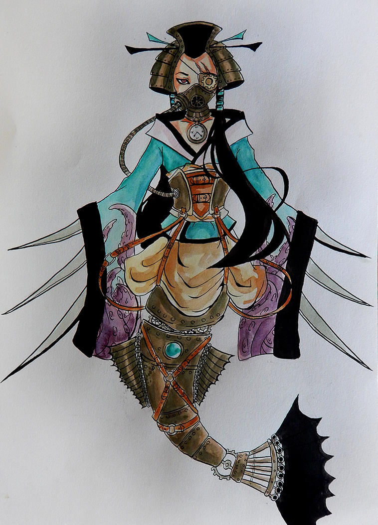 Mermaid steampunk geisha by Selenocosmia-CN