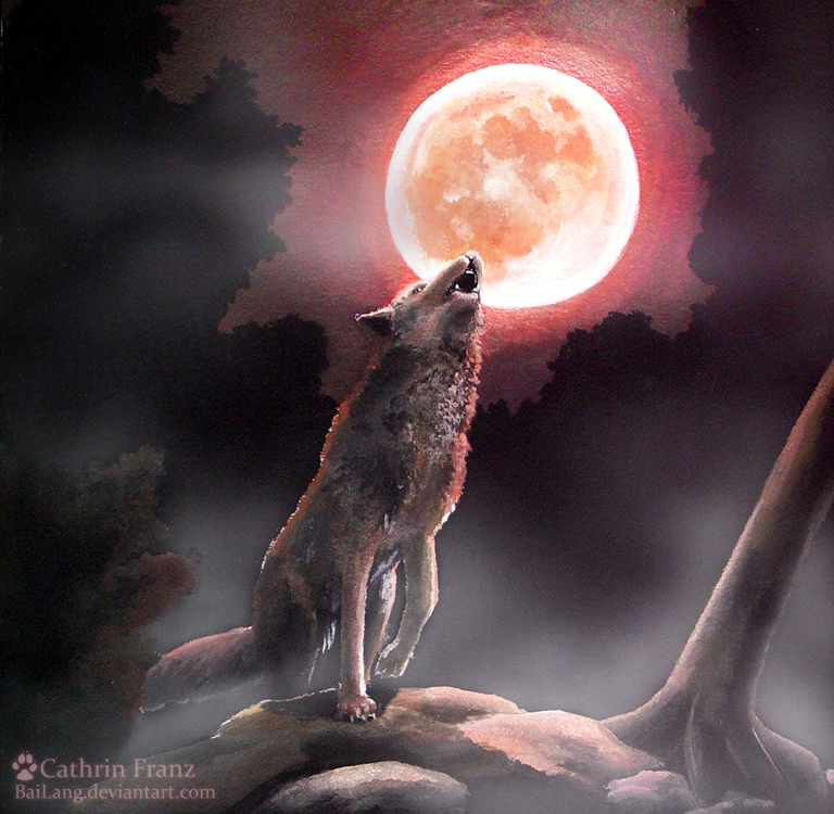 red wolf moon by bailang on deviantart