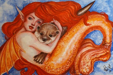 Mermaid e and otter by CellyMonteiro