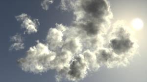 Volumetric clouds in cycles.