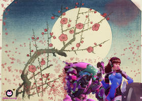 Dva Moon and Cherry blossoms asian art