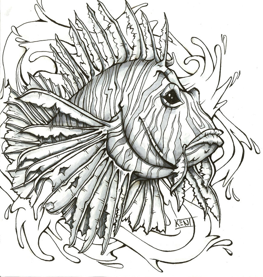Lionfish by kenidesu on deviantart for Lionfish coloring page