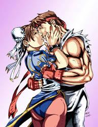 Ryu and Chun Li Kiss by the-pooper