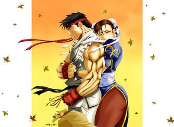 Ryu and Chun Li, 'Don't Go...' by the-pooper