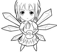 Ugly Cirno Lineart by UItimate
