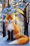 Fox in the winter forest