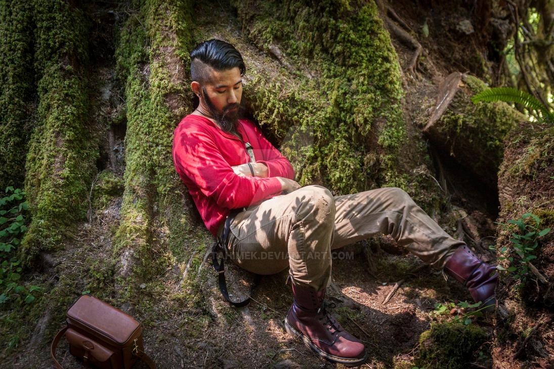 Self-Portrait @ Hoh Rainforest (Red Union Suit 02) by Tahimek