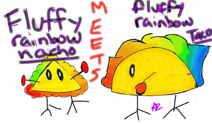 Fluffy rainbow nacho MEETS fluffy rainbow taco by Shizaya-luv-artist