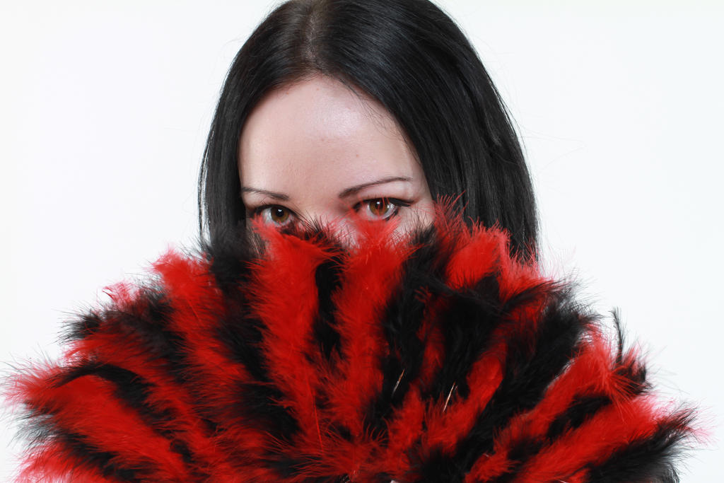 gothic woman eyes black red fan stock by Eve-VelvetRose