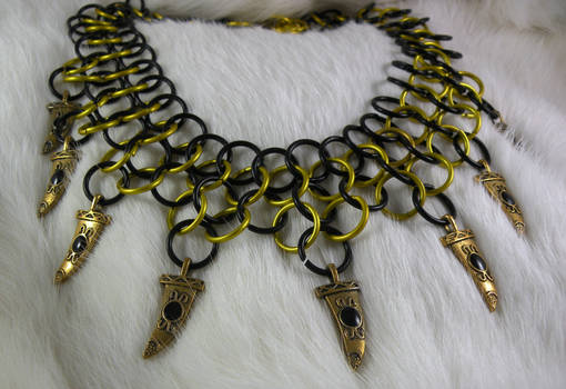 Gold And Black Charm Choker