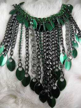 Green Scale And Chain Necklace