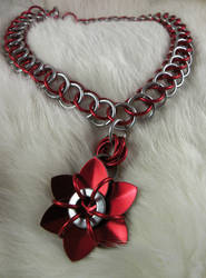 Red Metal Flower Necklace