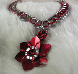 Close Up Red Flower Necklace