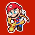 Chibi Mario smash sticker