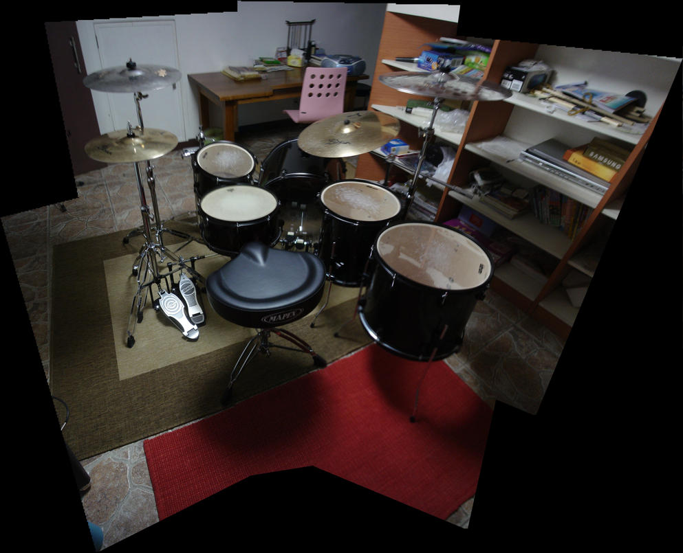 panoramic photo of my drum set by will-yen