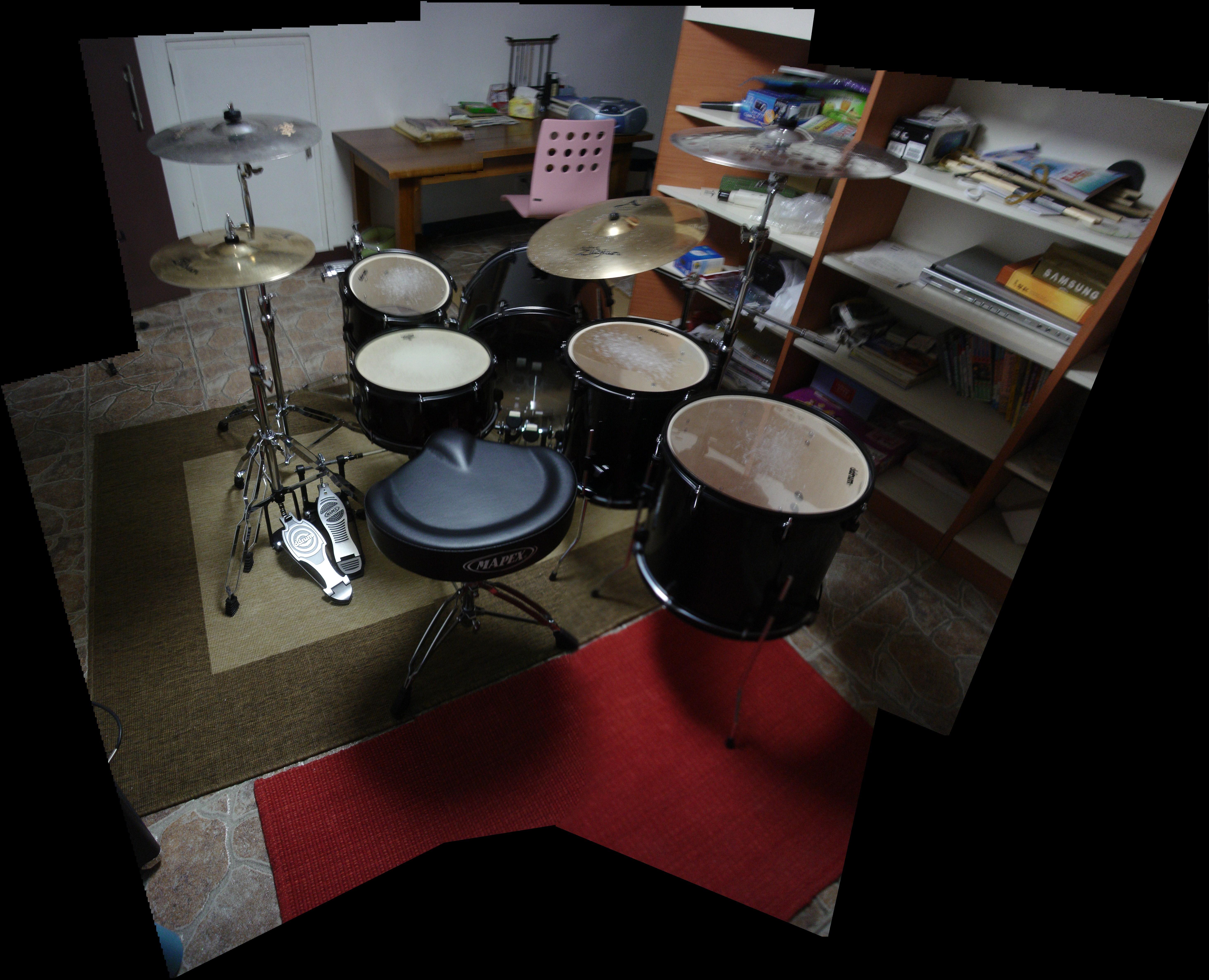 panoramic photo of my drum set by will-yen
