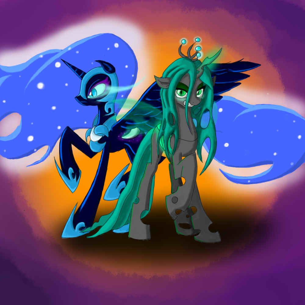 Chrysalis, Nightmare moon with background by Big-Boss1972 ...