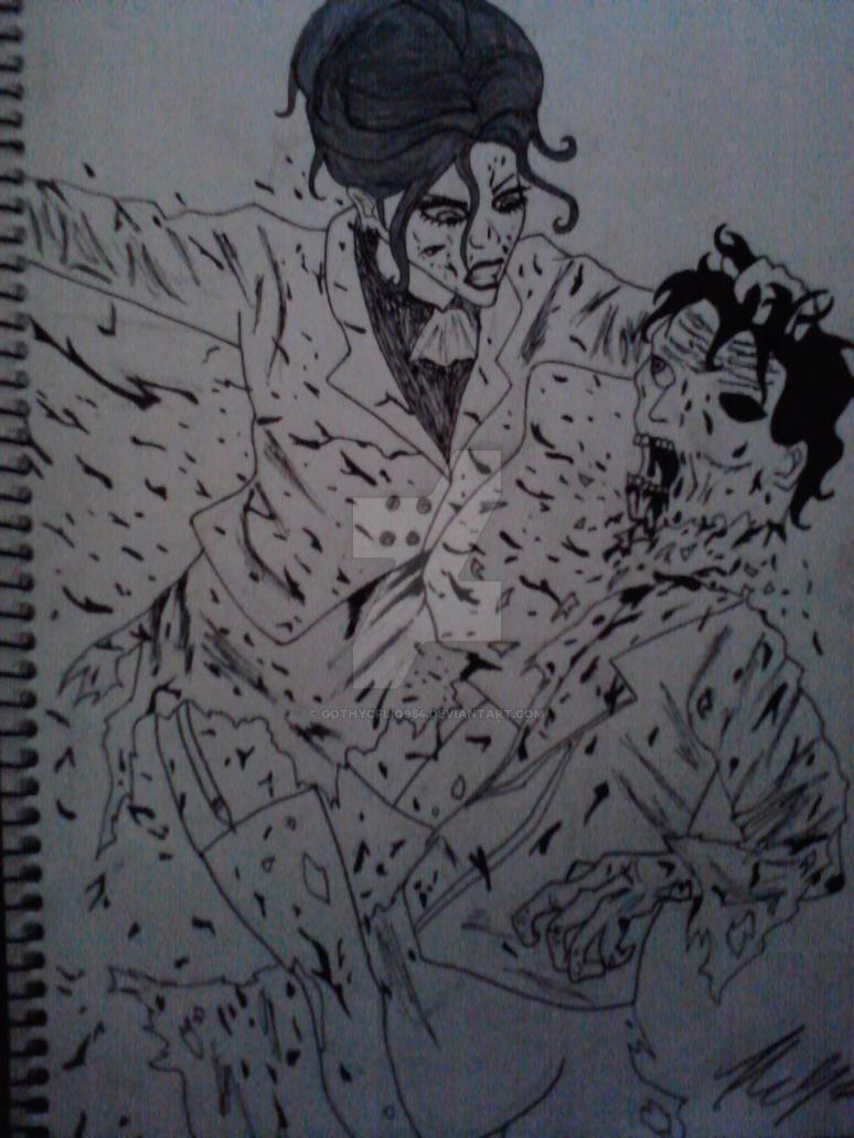 Girl killing zombie by gothycfliq954