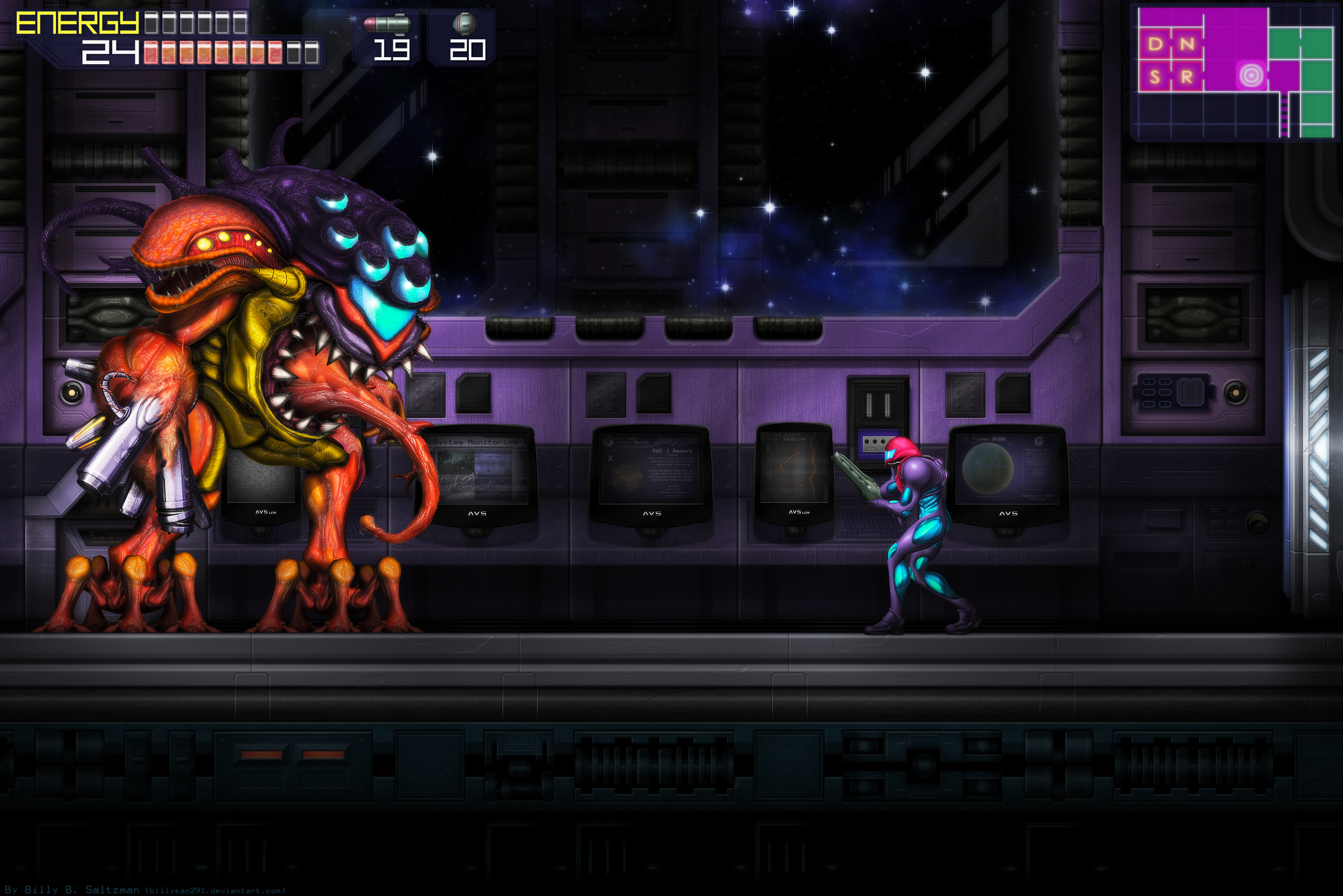 Metroid Fusion Final Boss GBA by Billysan291