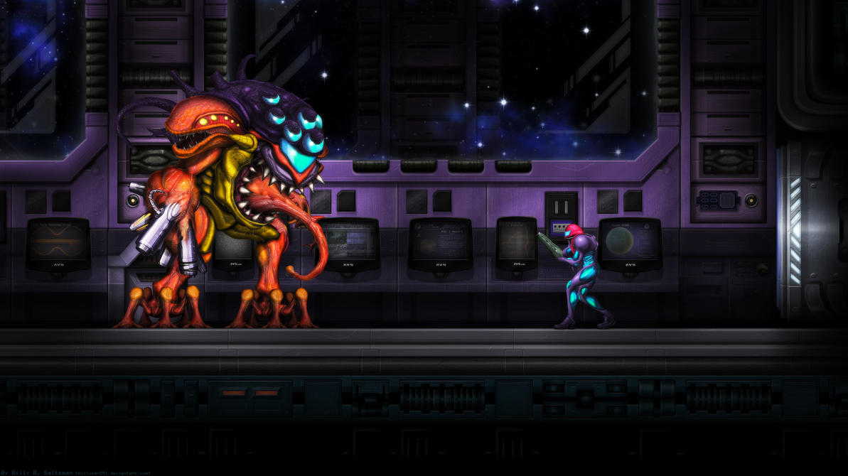 Metroid Fusion Final Boss Wide by Billysan291