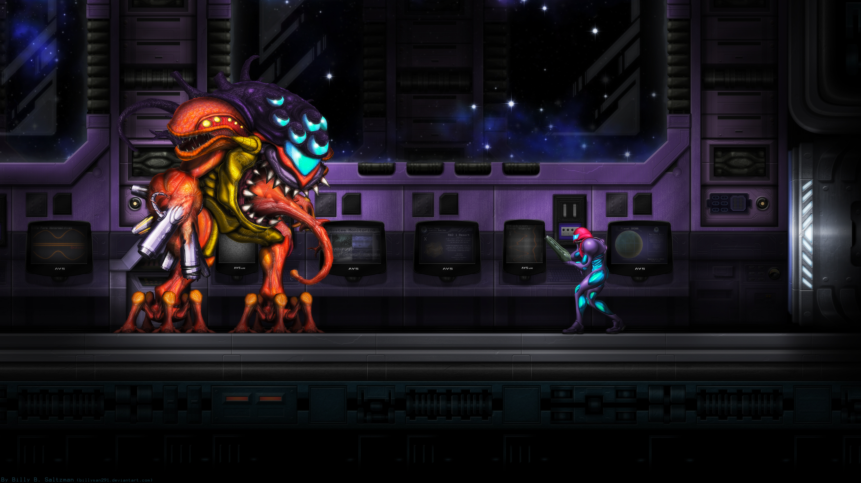 Metroid Fusion Final Boss Wide by Billysan291