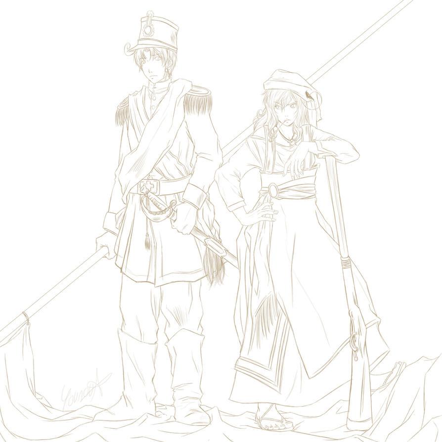APH - Brigantessa e Soldato Regio (Sketch) by RizafromKeron