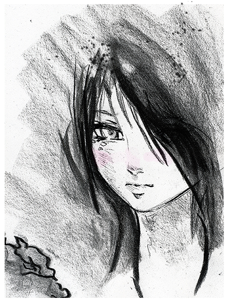 Anime girl charcoal drawing by lavonia