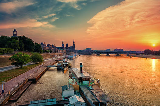 Historic center of Dresden at sunset