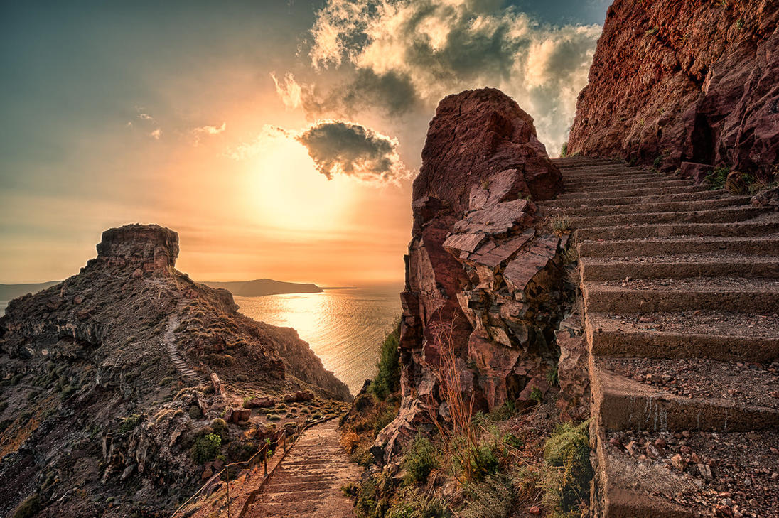 Skaros Rock - Santorini by Stefan-Becker