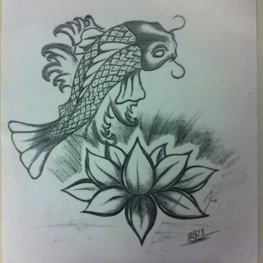Koi Fish And Lotus Flower Tattoo