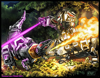 Commission: Grimlock VS Hun-Gurrr by Th4rlDEAL