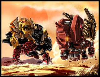 Transformers Commission: Ramhorn Vs Razorclaw by Th4rlDEAL