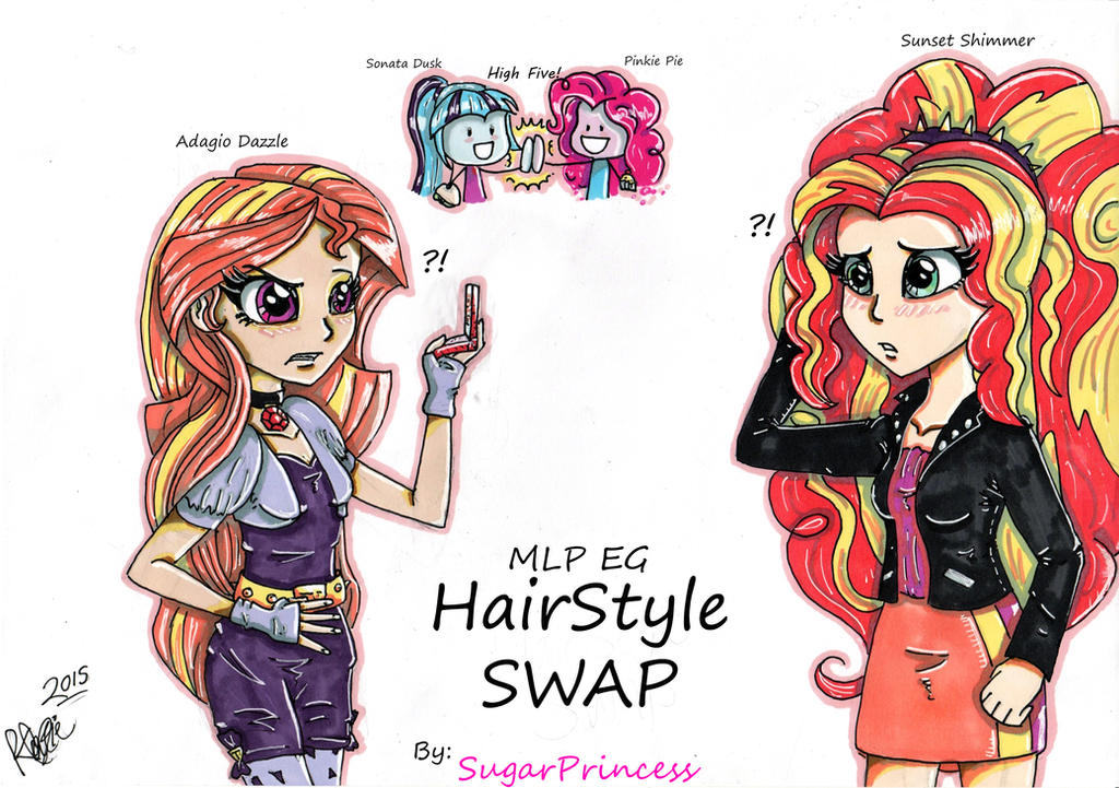 Boy Mlp Hairstyles: Hairstyle Swap-Adagio And Sunset (MLP EG) By