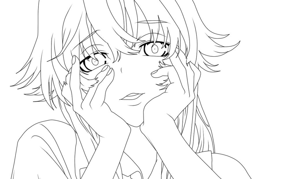 Mirai Nikki Yuno Gasai Sketch Coloring Page