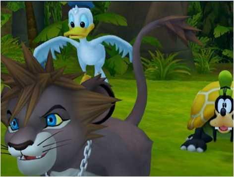 Lion!Sora, donald, goofy