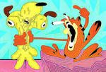 abuse of Odie by Garfield