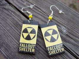 fallout shelter sign earrings by kickthebucket