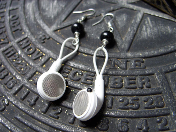 iPod earphones earrings by kickthebucket