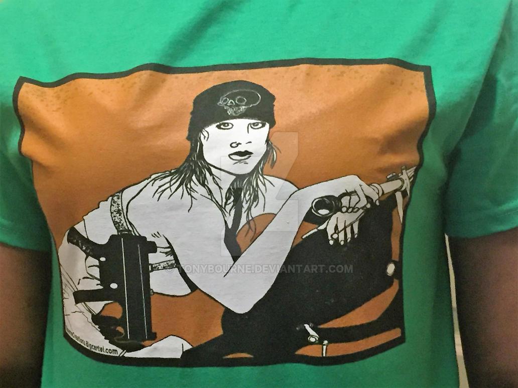 Biker Gunchick T-Shirt by TonyBourne