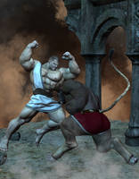 The Fight with the Minotaur by SimonWM