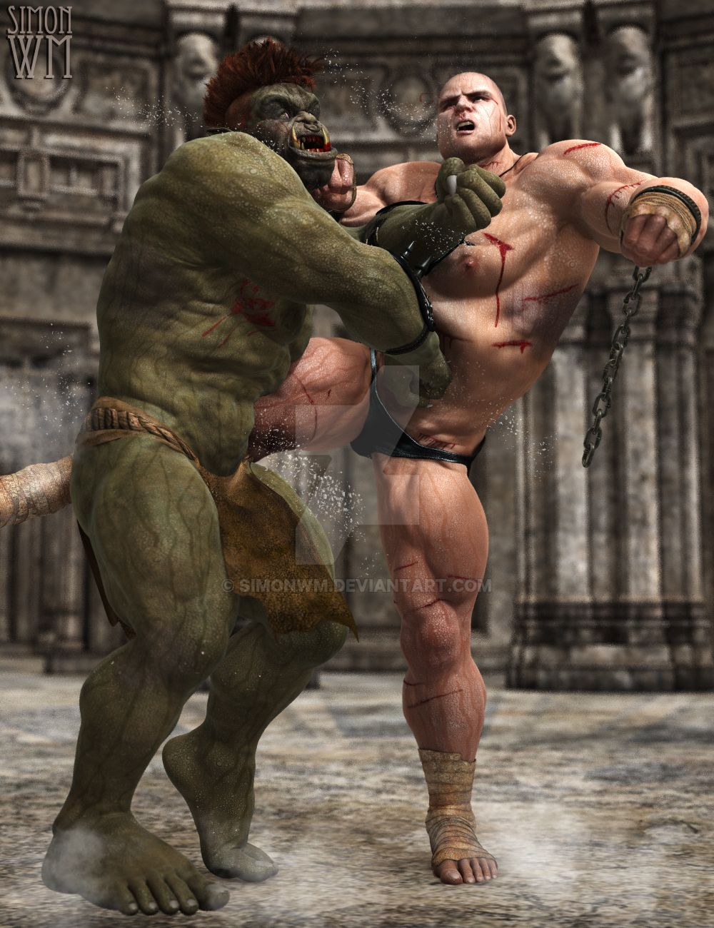 Have half orc male naked