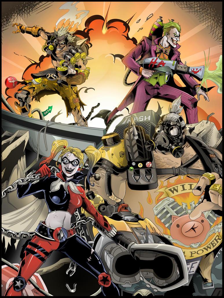 DC Overwatch - Joker, Harley, Roadhog and Junkrat by TimelessUnknown