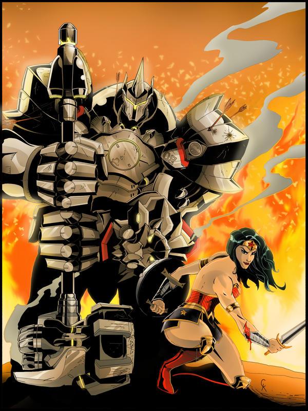DC Overwatch - Wonder Woman and Reinhardt by TimelessUnknown