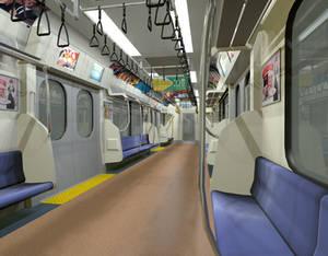 3D Japanese Train Interior Render